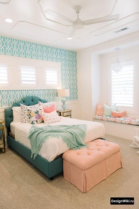 Бирюзовый и нежно розовый в детской комнате для девочки подростка