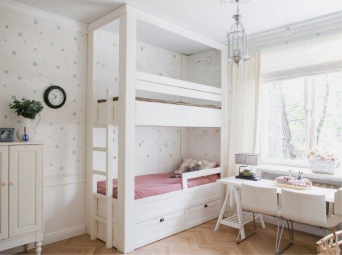 Высокая двухэтажная кровать для двоих девочек