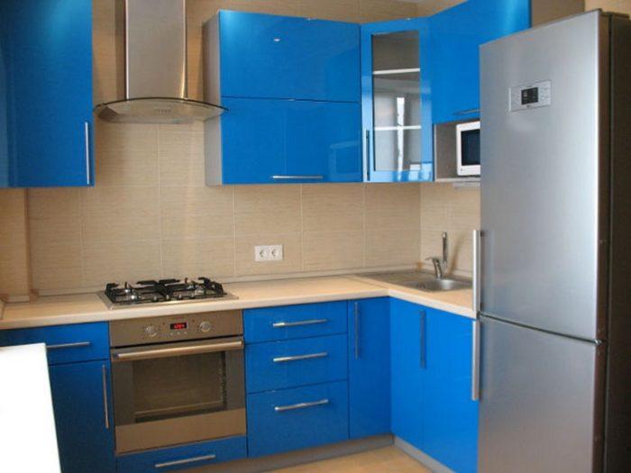 Голубая кухня в хрущевке