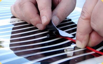 Датчик прикрепляется к термопленке битумной изоляцией