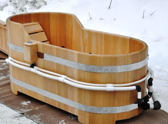 Деревянная одноместная купель-ванна с гидромассажем