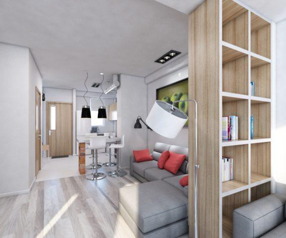 Дизайн студии с одним окном