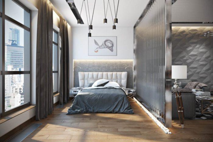 Дорогой дизайн студии с кроватью