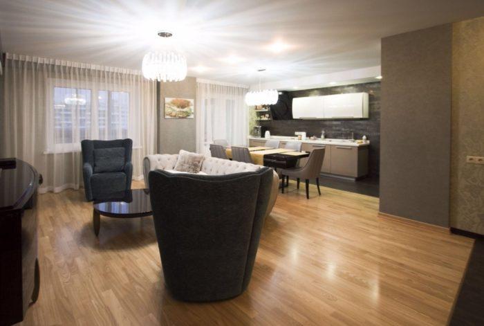 Интерьер квартиры студии в стиле современная классика