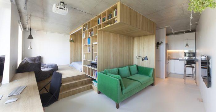 Квартира-студия с мебельным подиумом