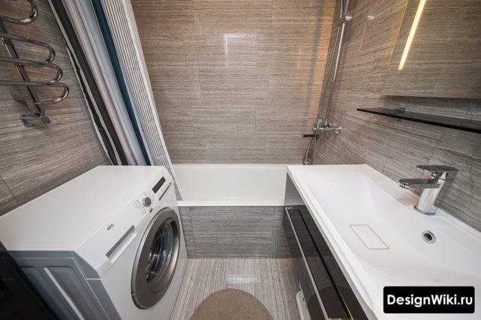 Коричневая плитка в ванной в хрущевке