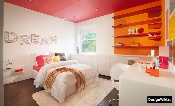 Красный и оранжевый цвет в детской для девочки подростка