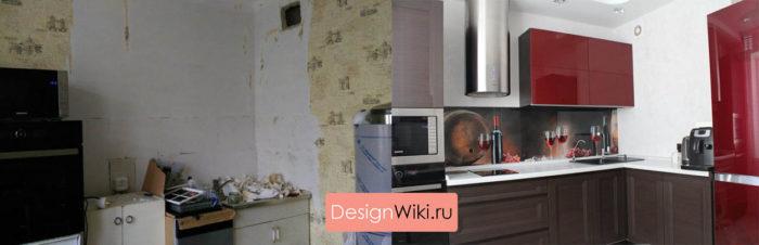 Кухня в хрущёвке до и после ремонта