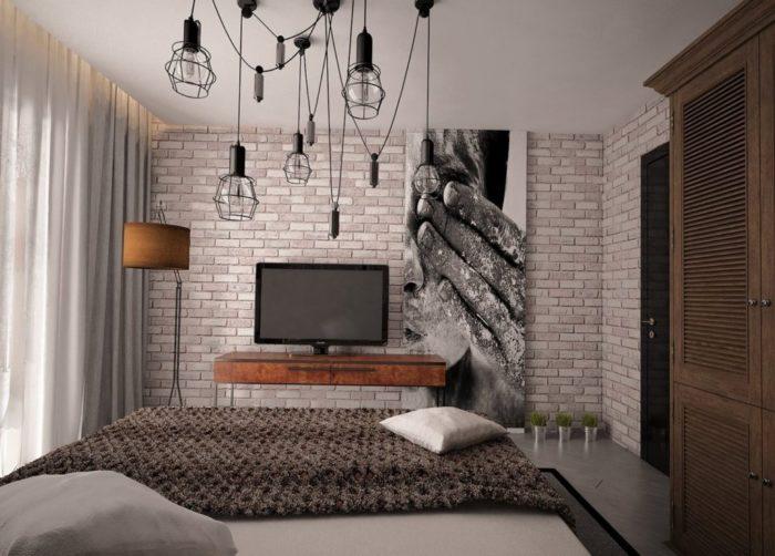 Маленькая спальня с элементами лофта