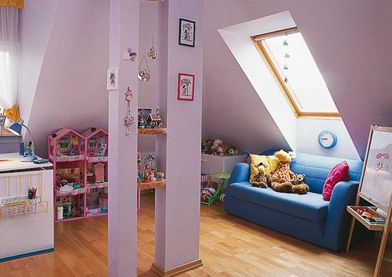 Детская комната на мансарде с отделкой при помощи гипсокартона