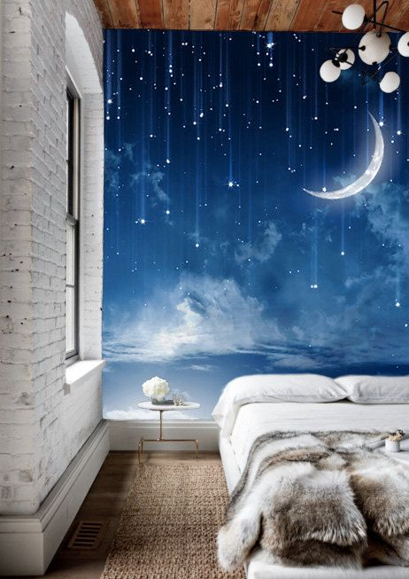 Модные синие фотообои в дизайне спальни