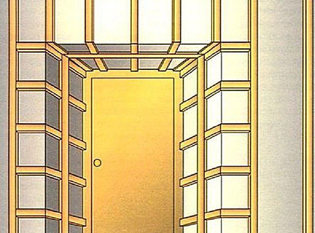 Пример смонтированной обрешетки для дверных откосов