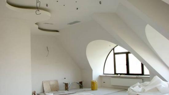 Отделка потолка и стен мансарды с использованием гипсокартона
