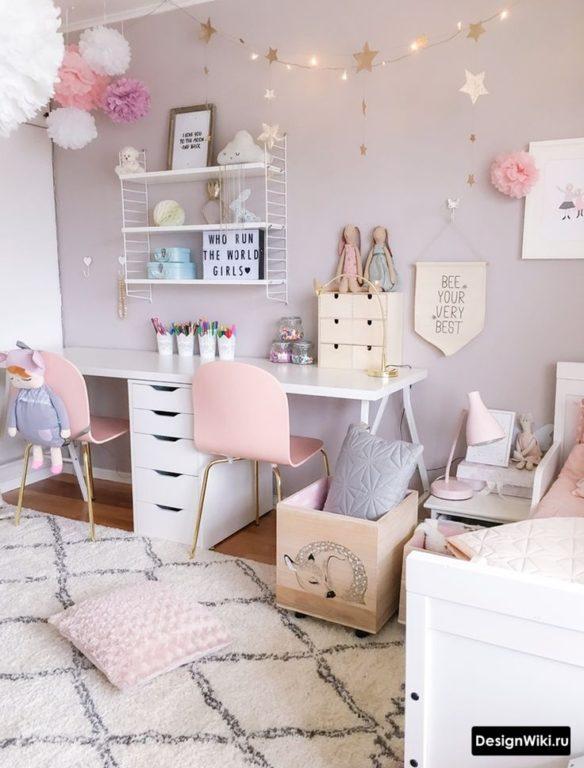 Пастельный серый и розовый - скандинавский стиль для двух девочек #дизайн #дизайндетской
