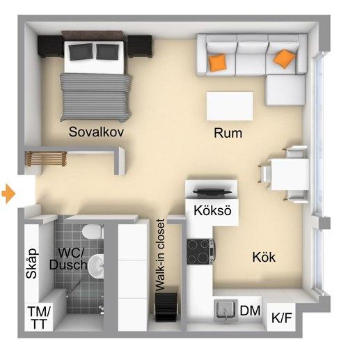 Планировка квадратной студии с кроватью