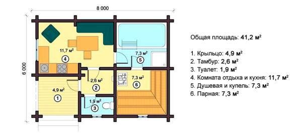 Планировка небольшой, но уютной бани