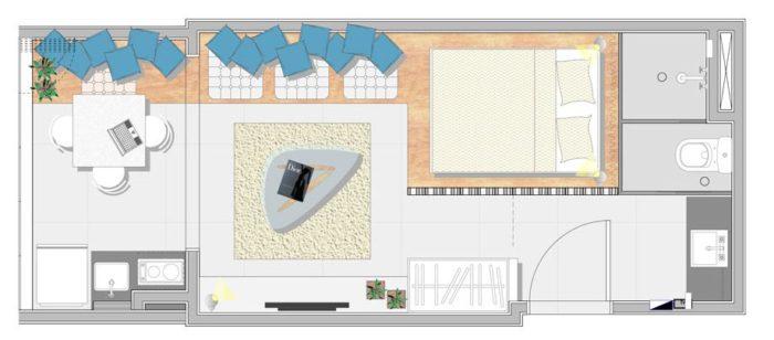 Планировка узкой прямоугольной квартиры-студии