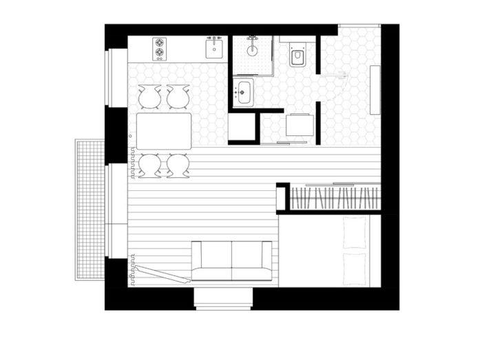 Проект планировки студии с кроватью