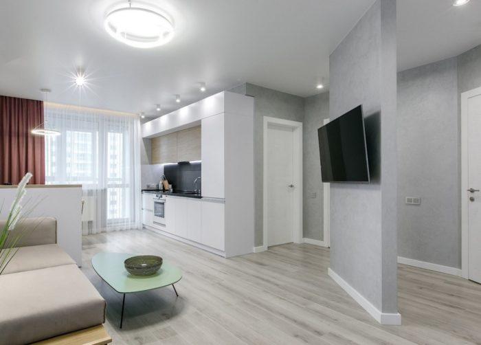 Расположение кухни на 1 стене в квартире студии