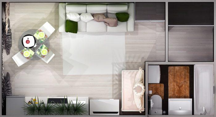 Расстановка мебели и зонирование в прямоугольной студии