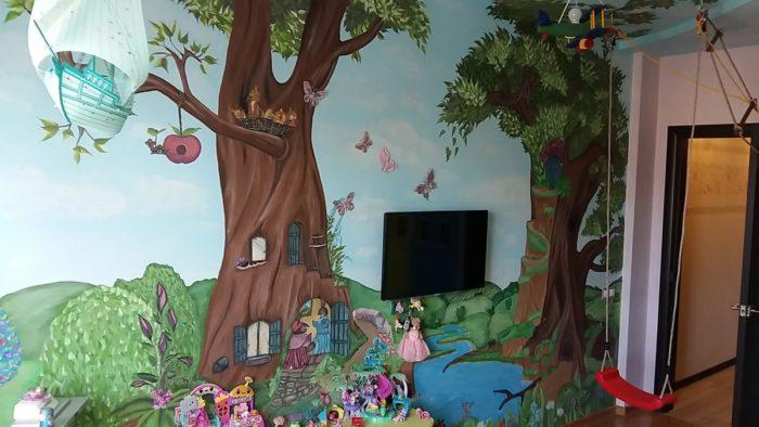 Рисунки на стене детской для девочек