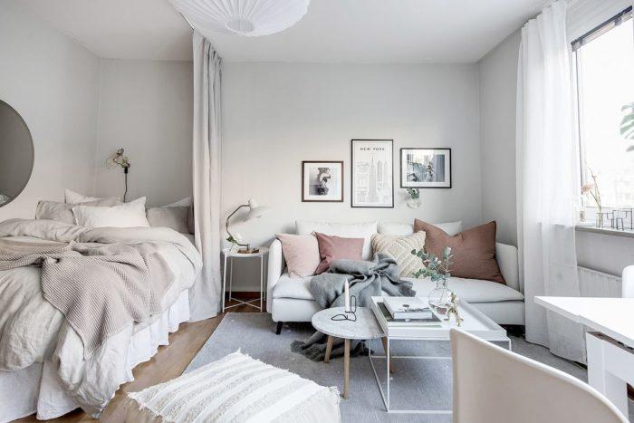 Скандинавский тип интерьере студий с кроватью
