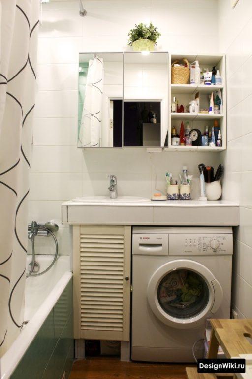 Стиральная машина в очень маленькой ванной 2 кв.м