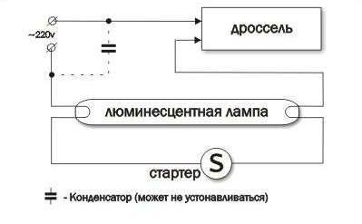 Схема подключения одной люминесцентной лампы через стартер