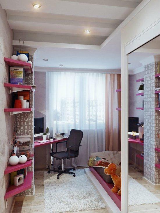 Учебная зона в интерьере комнаты девочки-подростка