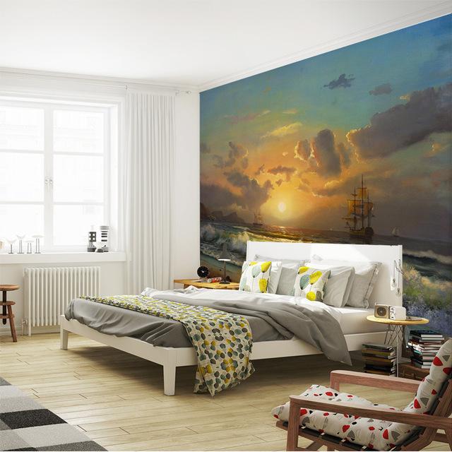 Яркие фотообои в современной спальне