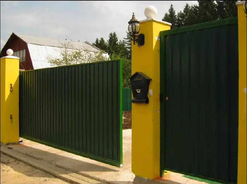 зеленые откатные ворота