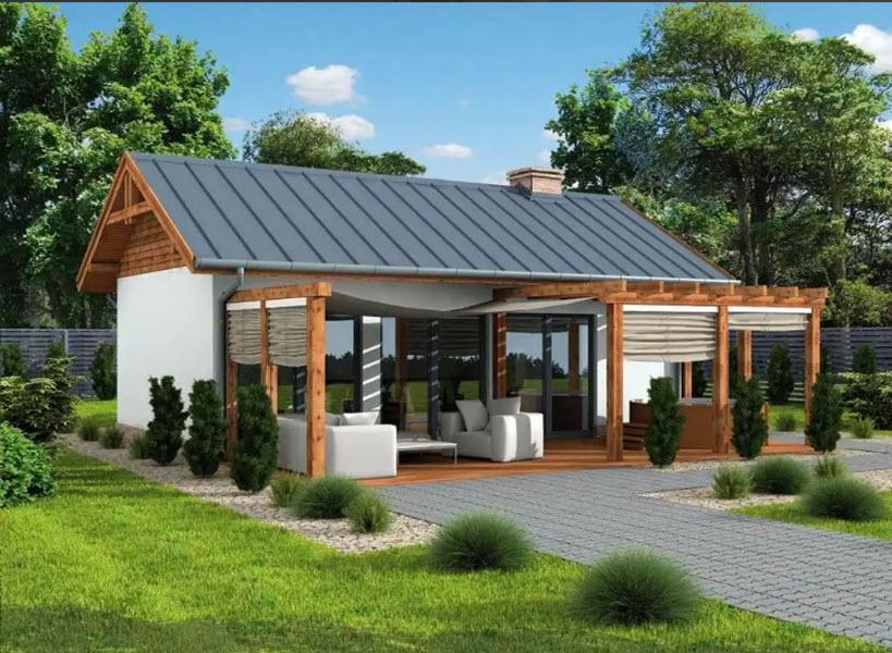 современный дизайн летней кухни
