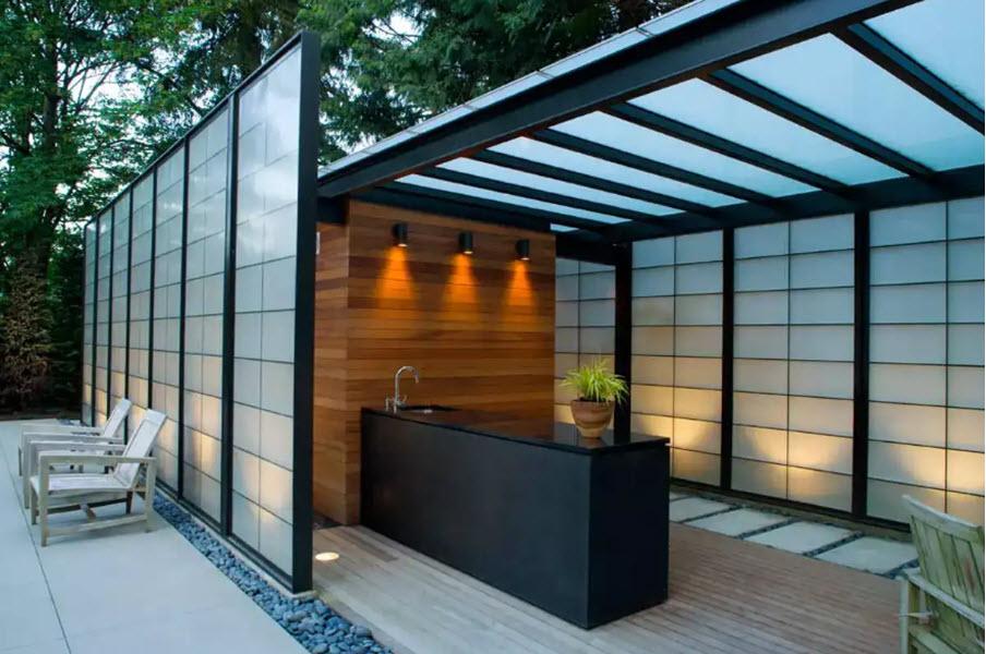 стильный дизайн дачной кухни