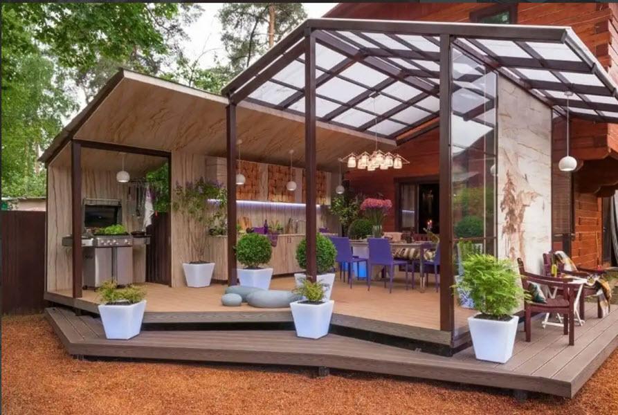 функциональная и удобная летняя кухня