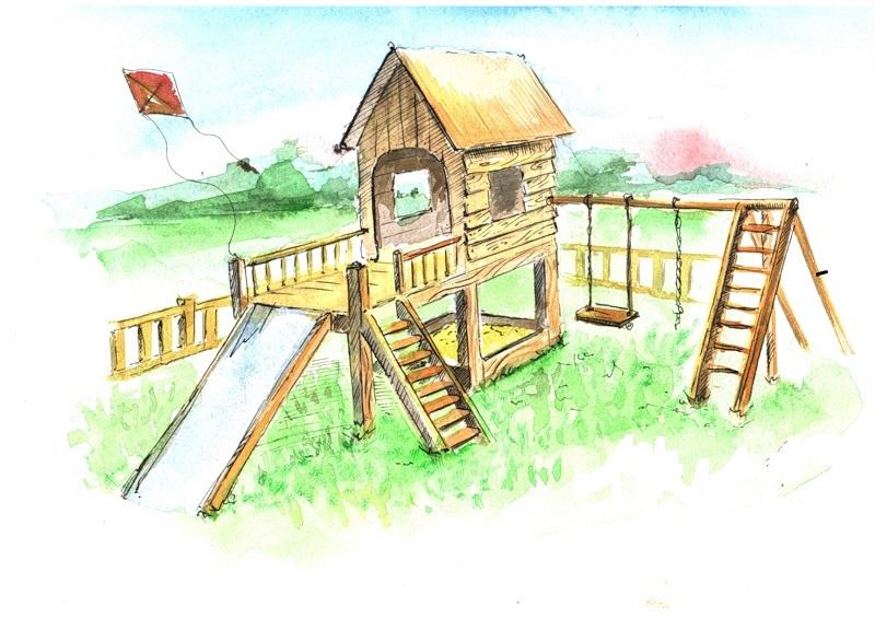 нарисованная картинка детской площадки