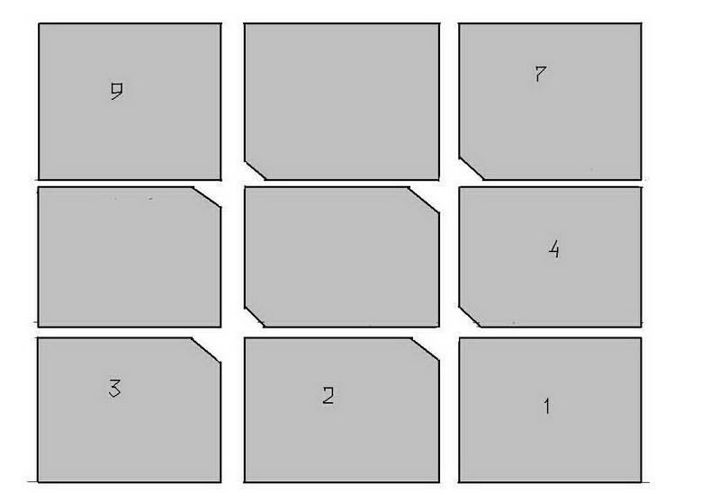 Схема монтажа с подрезкой углов