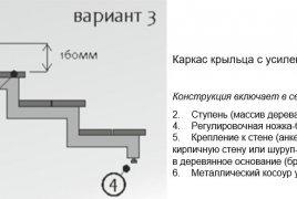 Каркас крыльца на усиленном косоуре - чертеж