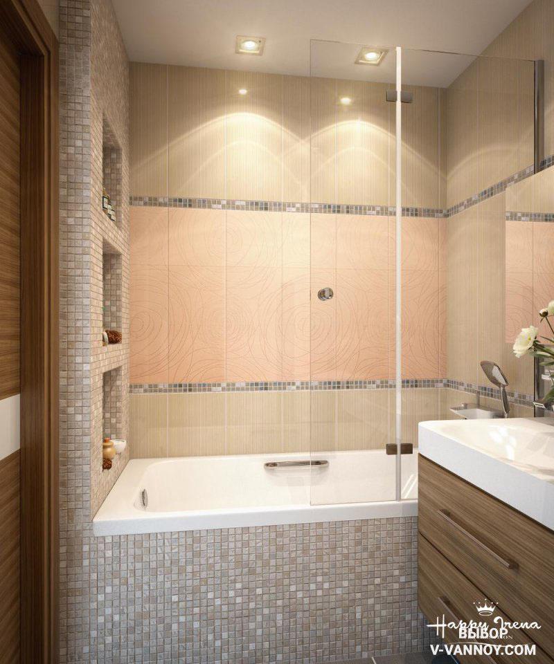 Точечная подсветка, пастельная гамма, глянцевая мозаика, зеркало и стеклянный экран отлично подходят для оформления маленькой площади ванной. Такое сочетание делает интерьер воздушным и просторным.