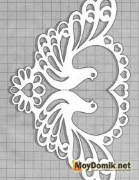 Эскиз наличников на окна - голуби