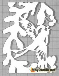 Эскиз наличников на окна - узор с птичкой (левая)