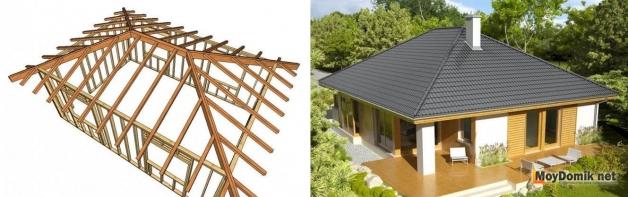 Схема устройства стропильной системы и внешний вид вальмовой крыши (обычной, стандартной)