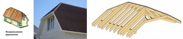 Схема устройства стропильной системы и внешний вид голландской вальмовой крыши