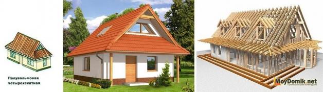 Схема устройства стропильной системы и внешний вид датской вальмовой крыши
