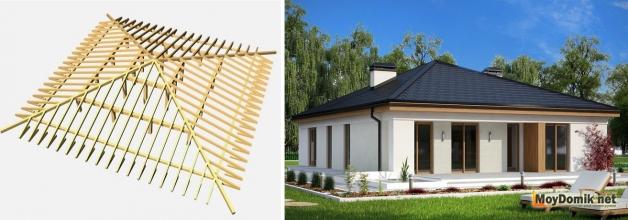 Схема устройства стропильной системы и внешний вид шатровой вальмовой крыши