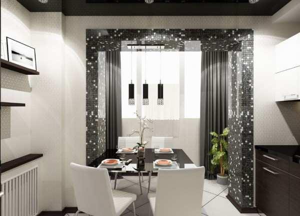 интерьер кухни с балконом в квартире, фото 17