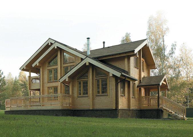 Дом из бруса с открытой верандой