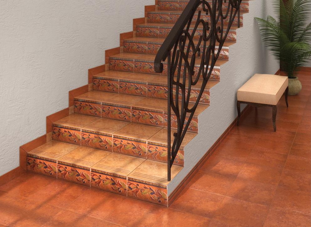 Лестница облицованная плиткой