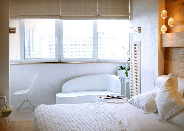 Отделка спальни с лоджией