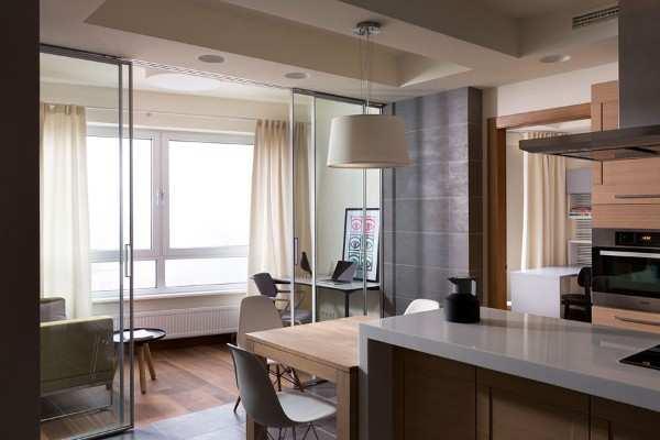 интерьер кухни совмещенной с балконом, фото 21