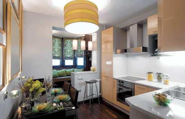 интерьер кухни с балконом, фото 37
